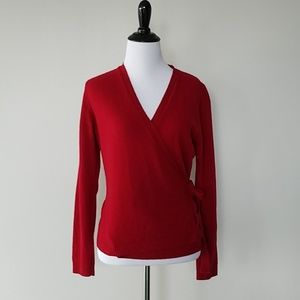 Benetton red wrap sweater